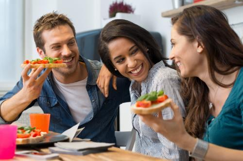 Mindful eating university of maryland graduate school group of friends eating healthy food ccuart Image collections